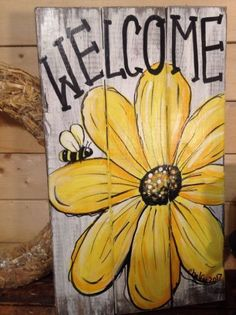 Welcome daisy primitive rustic pallet porch country handmade door sunflower bee Pallet Painting, Pallet Art, Tole Painting, Painting On Wood, Fall Pallet Signs, Wooden Pallet Signs, Rustic Painting, Wood Paintings, Barn Wood Signs