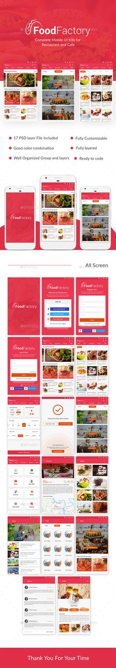 Food Factory - Complete Mobile UI Kits for  Restaurant and Cafe - User Interfaces #Web #Elements