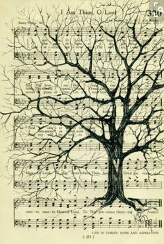 Who said hymnals are boring? Tree on Vintage Hymnal Book Page by kimbade on Etsy. Old Book Crafts, Book Page Crafts, Book Page Art, Book Art, Old Book Pages, Sheet Music Crafts, Sheet Music Art, Music Paper, Paper Art