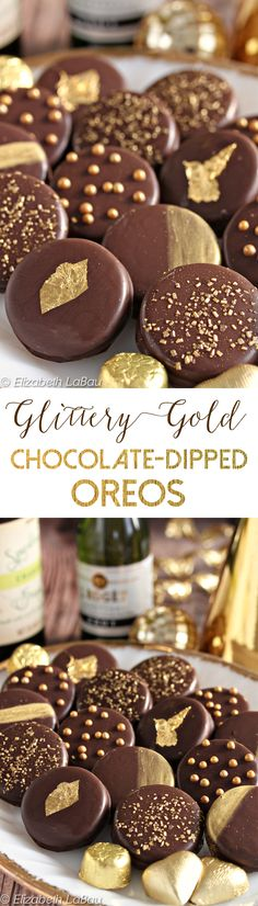 Chocolate-Dipped Oreos get classy with gold accents! These cookies are super easy to make, and add flash and glitz to any party! | From candy.about.com