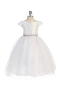 White Simple Satin & Tulle Flower Girl Dress with Crystal Sash