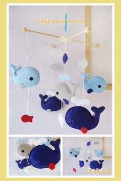 Baby Mobile - Whale Mobile - Nursery Mobile - Fish Mobile - Serene Sea - Royal Blue Gray Whale family (Custom Color Available)