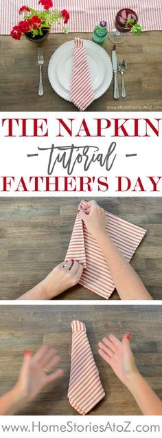 Tie napkin tutorial for Father's Day table setting