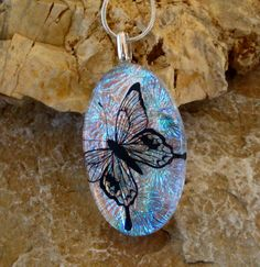 Dichroic Glass Butterfly Pendant Fused Glass Pendant by GlassCat, $22.50