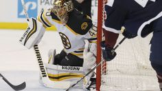 """[caption id=""""attachment_1715574"""" align=""""aligncenter"""" width=""""4083""""] Bruins goalie Tuukka Rask stops a shot off the stick of Avalanche left wing A.J."""