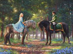 """Romance Awakens"" is one of four beautiful images from the Thomas Kinkade Studios inspired by key moments in the new Disney live action movie, ""Cinderella"". This piece captures the magic of Cinderella and the Prince's first meeting. Disney Live, Disney Magic, Disney Art, Disney Movies, Walt Disney, Disney Canvas, Thomas Kinkade Disney, Thomas Kinkade Art, Cinderella 2015"