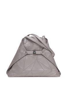 L0NER Akris Ai Medium Embroidered Shoulder Bag, Gray