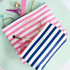 Personalised Striped Organiser Bag