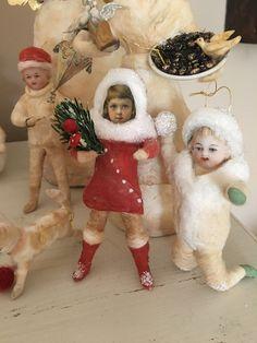 Wattefigur mit alter Oblate,Wintermädchen für Federbaum, JDL, Shabby,Vintage   eBay