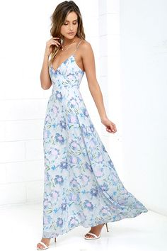 Exclusive print, only at Lulus! Paint yourself as pretty as a picture by slipping into the Watercolor Wonderland Light Blue Floral Print Maxi Dress! Washes of blue, green, and pink create a diffused floral print over the woven surplice bodice and maxi skirt. Adjustable straps. Hidden side zipper.