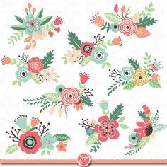 Pack de fleurs Clipart pack « Fleur clipart », Vintage fleurs, fleurs de printemps, Weding fleur, flore, Wd036 d'invitation de mariage