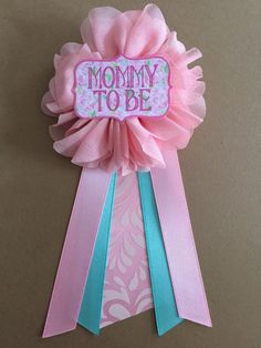 Floral Pink Teal Baby Shower Mommy-to-be Flower Ribbon by afalasca