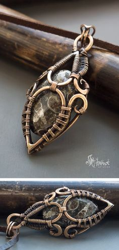 Bronze wire wrapped pendant // Fantasy jewelry