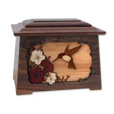 Elegant Hummingbird Wooden Cremation Urn