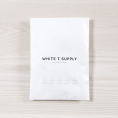White T. Supply, branding, packaging, sans serif, minimal, white, black, natural wood