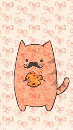 wallpaper for phone-iphone-Cat Kawaii