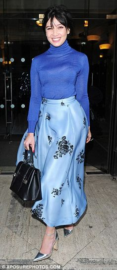 Beaming: 26-year-old Daisy couldn't hide her smile as she stepped out for the LFW show on ...