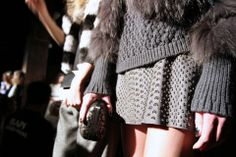 THROUGH THEIR EYES: @Alicia Lund captured the gilded gray skirt, luxurious fur and textured knits of this monotone look. #nyfw #aoFall14