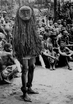 Ohaffia tribe, River Ibo. 'Okanku' masquerade and 'Otili' mask 1931 photo by Dr. G.I. Jones