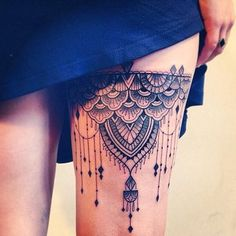 Leg tattoo. Kinda love these, not sure if i want to devote it to my thigh though, i only have one left