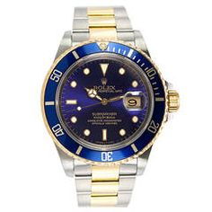 Rolex Stainless Steel and Yellow Gold Submariner Wristwatch Ref 16613 circa 1991