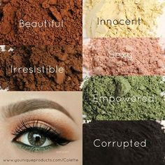 Here is an eye look for those of you w Green/Brown/or Hazel eyes.She is wearing Innocent below her brow- you can use 'Sexy' or 'Beautiful' in Inner Crease Irresistible in Outer Crease. You can use Corrupted or Empowered under bottom lash line Eye Pigments$12.50 each OR a set of 4 for $35- a $15 savings Perfect' Eye Pencil- $15 and of COURSE 3D Mascara $29 You can look this gorgeous easily contact me!!younqueproducts.com/mariecaldwell
