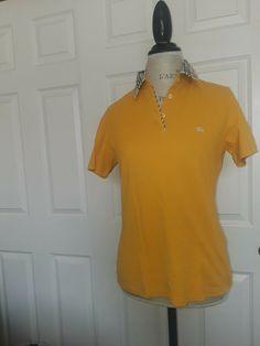 b577092a8d2b DAMAGED BURBERRY Shirt Women XL Polo Yellow Short Sleeve Button Vneck  100%Cotton