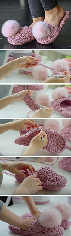 What a beautiful slippers have I found on the Russian website . They had an absolutely astonishing tutorial for these super cute slippers. Crochet Diy, Crochet Boots, Crochet Slippers, Love Crochet, Crochet Crafts, Yarn Crafts, Crochet Clothes, Crochet Projects, Crochet Ideas