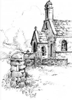 Pencil Art Pencil sketchbook drawing of church near Sedbergh - Landscape Pencil Drawings, Landscape Sketch, Sketchbook Drawings, Pencil Art Drawings, Illustration Au Crayon, Illustration Sketches, Cool Landscapes, Landscape Paintings, Landscape Art