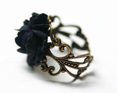 Schwarze Rose Ring - einstellbare filigrane gotische Steampunk