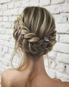 Lcollection Bridesmaid Hair Updo Braid, Wedding Updo With Braid, Boho Hair Updo, Boho Updo Hairstyles, Bridesmaid Braided Hairstyles, Upstyle Wedding Hair, Hair For Bridesmaids, Braided Hair Updos, Braided Crown Hairstyles