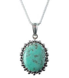 KINGMAN TURQUOISE PENDANT NECKLACE STERLING OVAL 16""