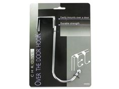 """Chrome Over-the-Door Hook, 72 - Perfect for organizing and saving space, this Chrome Over-the-Door Hook easily mounts over doors and is made with durable chrome-plated metal. The hook over the door is approximately 7/8"""" wide and hangs off the back of the door 1 3/8"""". Total length is approximately 6 1/2"""". Projects about 2 3/4"""" from the door. Fits securely over standard interior doors. Comes packaged to a tie card.-Colors: silver. Material: metal. Weight: 0.2347/unit"""