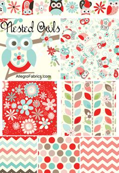 Nested owls fabric available at Allegro fabrics online