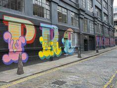 """Protagonists"" by Ben Eine , Ebor Street, E1.   26 Stunning Street Art Murals In East London"