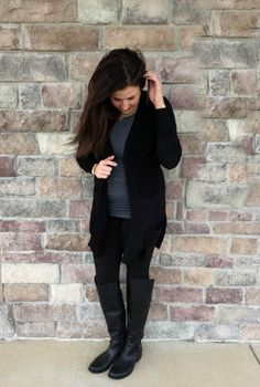 black cardigan grey