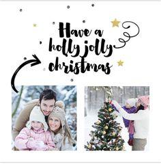 Hippe enkele foto kerstkaart met met brush letters teksten! Fotocollage met ruimte voor twee eigen foto's of andere leuke invulling! Met goudlook sterren. Gratis verzending in Nederland en België.