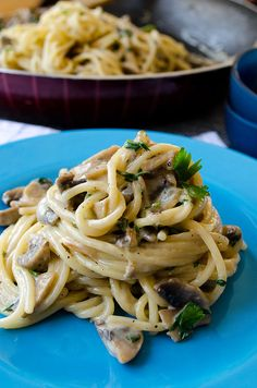 Creamy Mushroom Pasta with onion and goat cheese.  You'll crave for it even if you are not hungry. Yes, it's that good!  <3