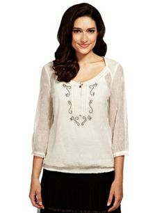 Per Una Embroidered Blouse with Camisole-Marks & Spencer