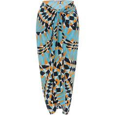 Vanda Jacintho Printed Sarong ($710) ❤ liked on Polyvore featuring swimwear, cover-ups, skirts, beach, swim, swimsuit, print, beach wear, swim suit cover ups and print swimsuit