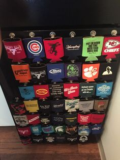 Koozie storage on fridge with magnet clips. http://garageremodelgenius.com/category/garage-conversion-ideas/