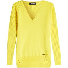 Dsquared2 Wool Pullover ($539) ❤ liked on Polyvore featuring tops, sweaters, yellow, yellow pullover sweater, yellow top, pullover tops, woolen sweater and wool tops