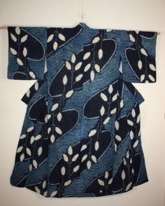japanese Indigo dye shibori cotton kimono