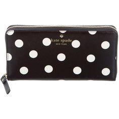 Pre-owned Kate Spade New York Polka Dot Continental Wallet ($95) ❤ liked on Polyvore featuring bags, wallets, black, leather wallets, genuine leather wallet, zip wallet, leather continental wallet and pocket wallet