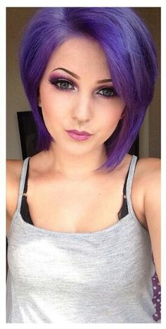 Purple dyed hair in bob style