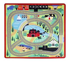 Melissa & Doug Unisex Children's Round the Town Road Rug & Car Set Car Activities, Little Kid Fashion, Wooden Car, Melissa & Doug, Car Set, Cool Rugs, Creative Play, Rugs Online, Woven Rug