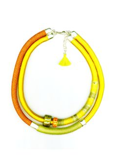 YELLOW Ceramic Necklace, Handmade Bracelets, Ceramics, Jewellery, Boho, Yellow, Chic, Green, Earrings