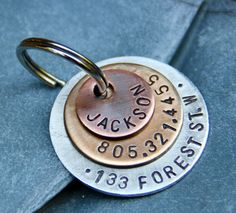 Custom Pet ID Tag - Jackson - in Layered Mixed Metal, as featured in Martha Stewart Living on Etsy, $19.50
