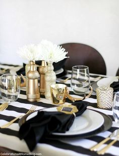 black and white and gold table top