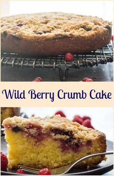 Wild Berry Crumb Cake, a fast and easy homemade breakfast, snack or coffee cake. Red berries or blueberries make it a yummy cake recipe. via @https://it.pinterest.com/Italianinkitchn/